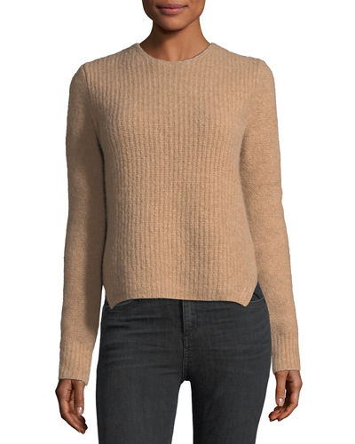 Francie Crewneck Pullover Wool Sweater w/ Elbow Patches
