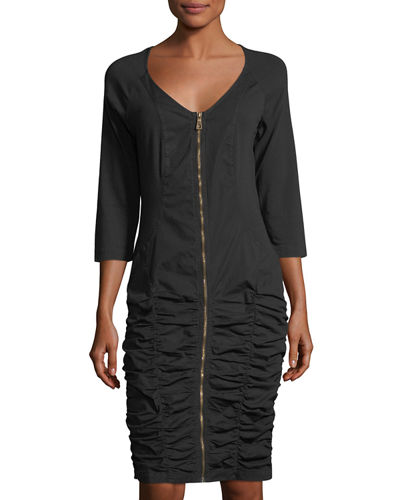 Johanne Zip-Front Ruched Dress