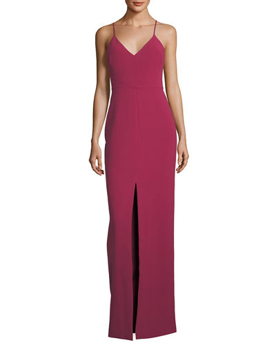 Brooklyn Slit-Front Slip Gown