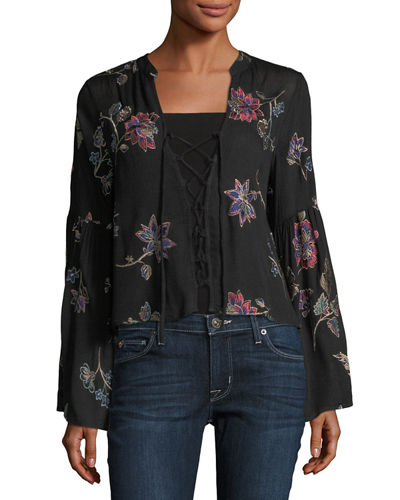 Floral-Embroidered Lace-Up Blouse
