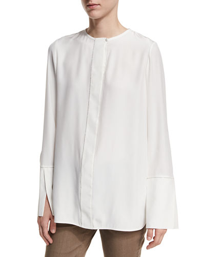 Georgie Long-Sleeve Chain-Trim Silk Blouse, Plus Size