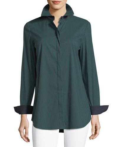 Long-Sleeve Button-Front Cherrywood Striped Shirt, Plus Size