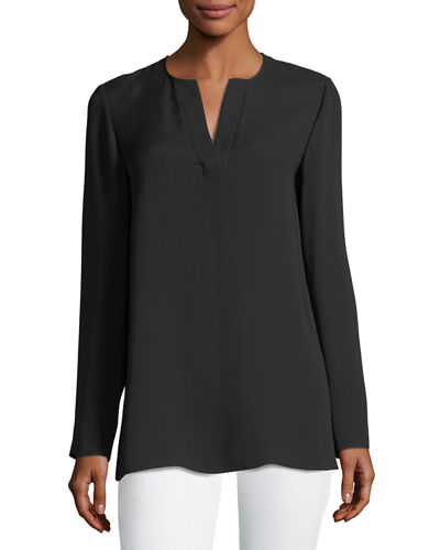 Zalina Long-Sleeve Split-Neck Silk Blouse, Plus Size