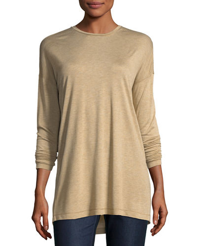 Long-Sleeve Crewneck Featherweight Jersey Top, Plus Size