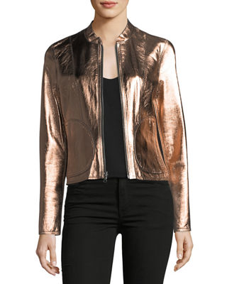 Reversible Zip-Front Lamb Leather Metallic Bomber Jacket