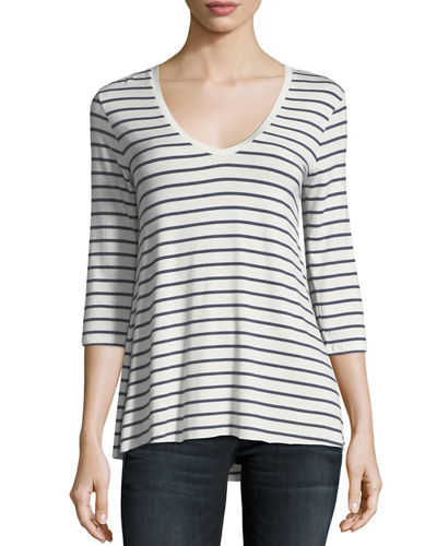 Soft Touch 3/4-Sleeve Striped Top