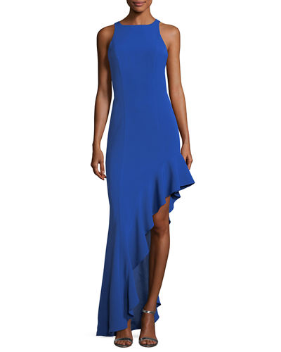 Stella Sleeveless Asymmetric Flounce Evening Gown