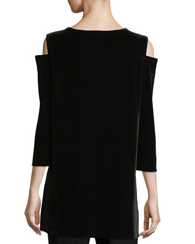 Stretch Velvet Cold-Shoulder Tunic