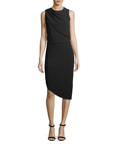 Drape-Front Asymmetric-Hem Sheath Dress