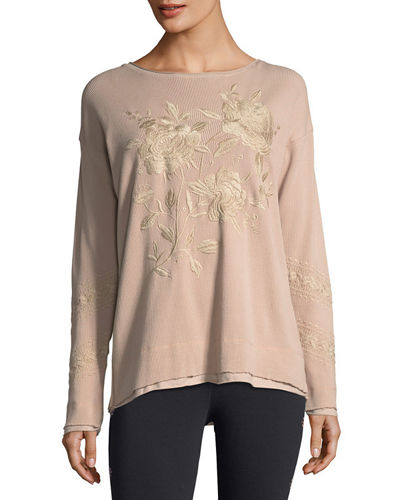 Embroidered Thermal Sweatshirt, Plus Size