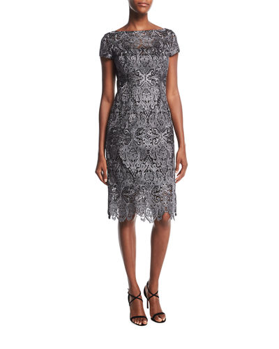 Short-Sleeve Bateau-Neck Lace Cocktail Dress
