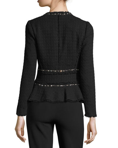 Textured Tweed Embellished Peplum Jacket