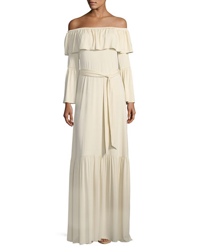 Kyron Ruffled Off-the-Shoulder Maxi Dress, Plus Size