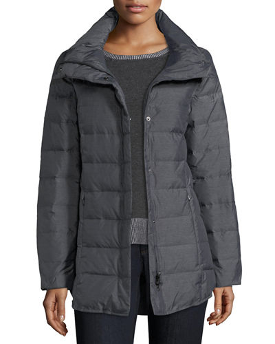 Melange Quilted Down Jacket, Petite