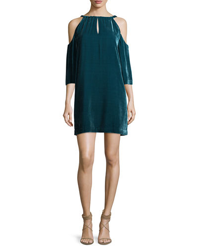 Draped Velvet Cold-Shoulder Cocktail Dress