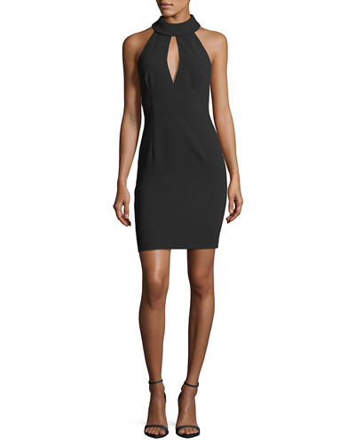 Mock-Neck Sleeveless Halter Crepe Dress w/ Keyhole