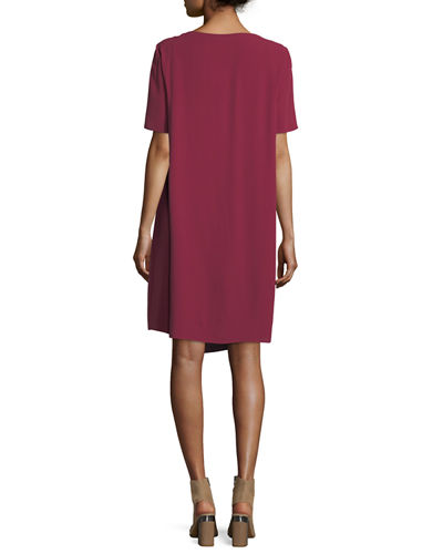 Silk Georgette Crepe Asymmetric Dress, Petite