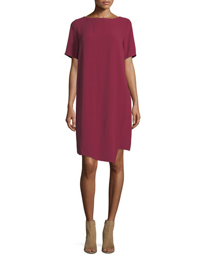 Silk Georgette Crepe Asymmetric Dress, Plus Size