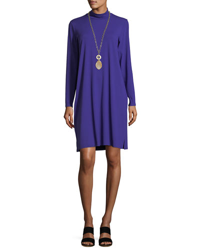 Mock-Neck Long-Sleeve Jersey Dress, Plus Size