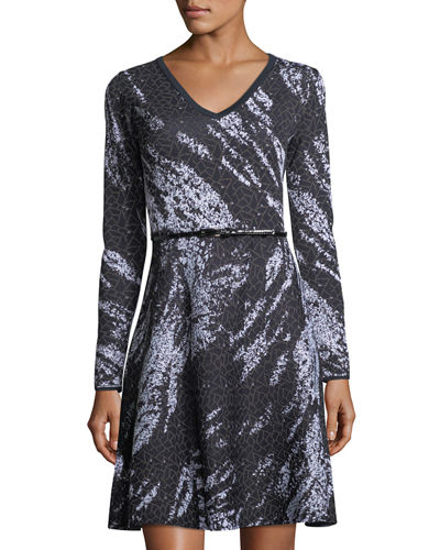 Birdseye Jacquard Long-Sleeve Dress