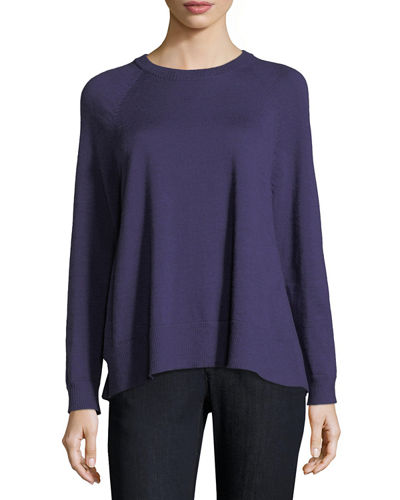 Merino Jersey High-Slit Top, Plus Size