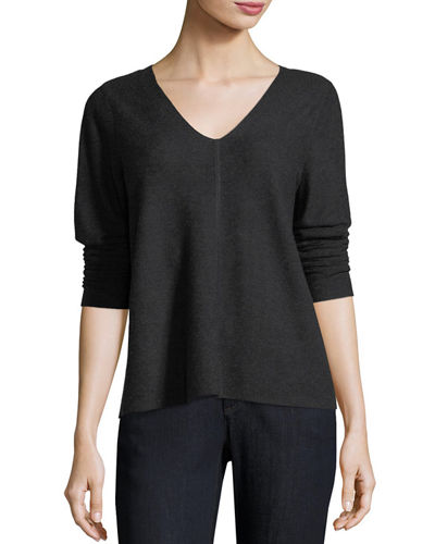 V-Neck Long-Sleeve Top, Plus Size