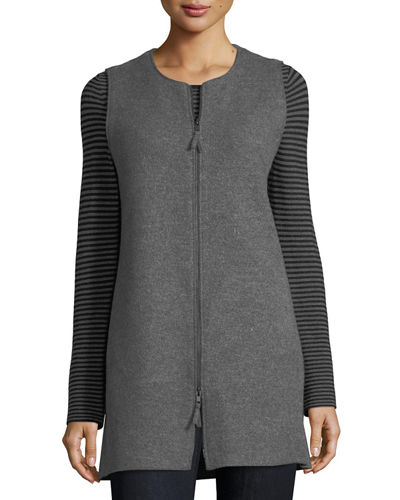 Round-Neck Zip-Front Boiled Wool Vest, Petite