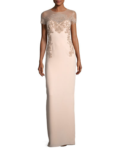 Crepe Evening Gown w/ Illusion & Embroidery