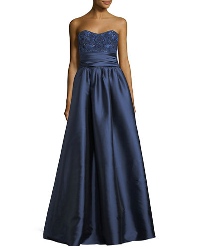 Strapless Sequined-Bodice Mikado Ball Gown