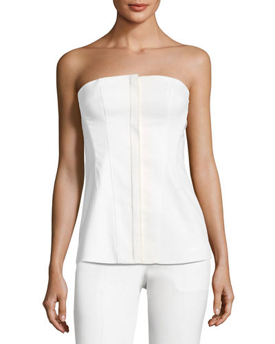 Modern Bustier Zip-Front Wool-Blend Top