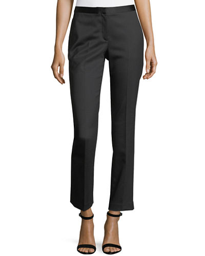 Straight-Leg Wool-Blend Tux Pants