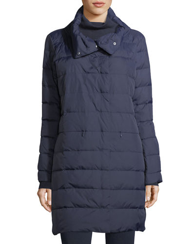 Weather-Resistant Down Puffer Cocoon Coat, Petite