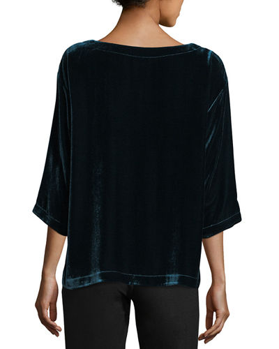 Velvet 3/4-Sleeve Box Top, Petite