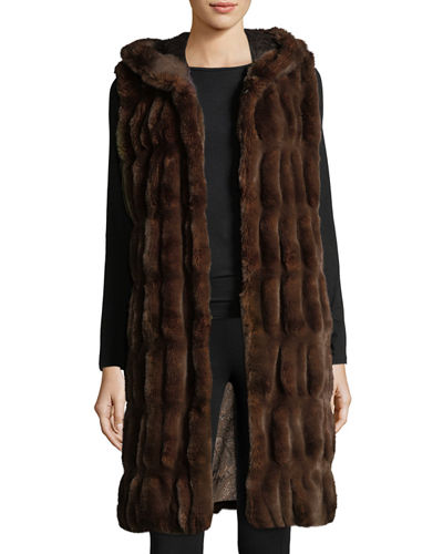 Couture Faux-Fur Hooded Long Vest