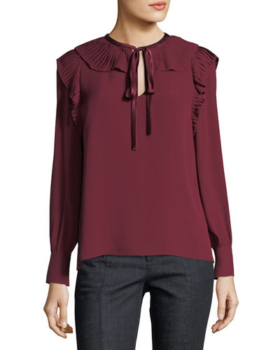 Diana Tie-Neck Ruffled Silk Georgette Top