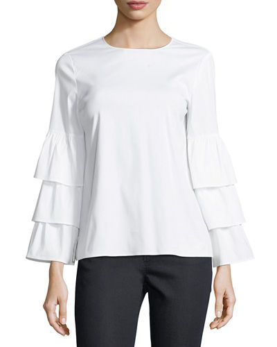 Revina Ruffle-Sleeve Poplin Blouse