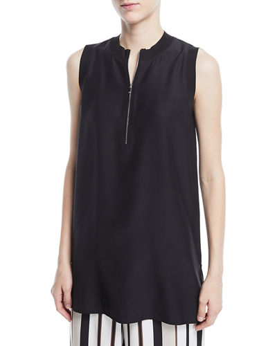 Foley Matte Silk Sleeveless Blouse