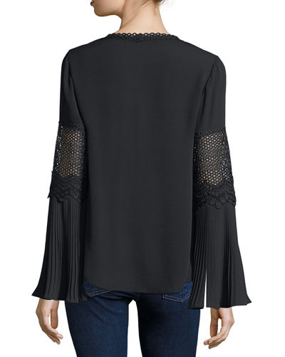 Christine Lace-Trim Flare-Sleeve Silk Blouse