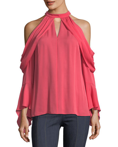 Aria Cold-Shoulder Silk Blouse