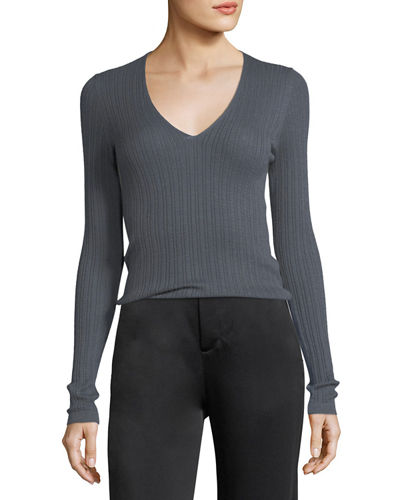 Mixed Rib V-Neck Cashmere Sweater