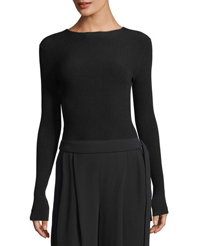 Vince Black Ribbed Sweater | Neiman Marcus