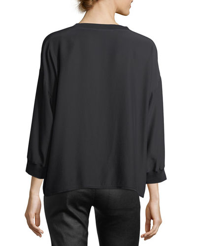 Crewneck Long-Sleeve Silk Blouse