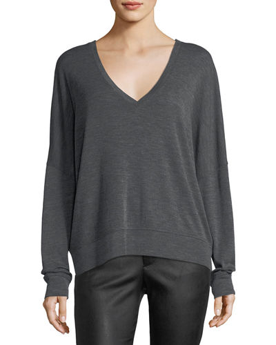 Drop-Shoulder V-Neck Wool Pullover Sweater