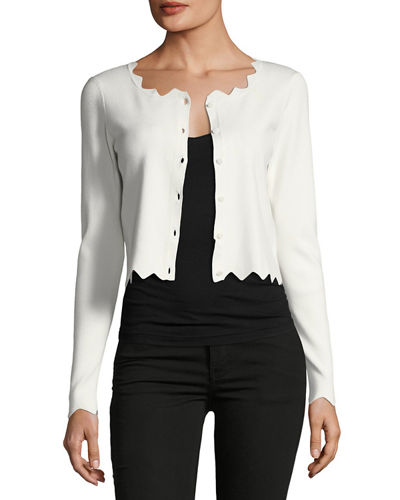 Cropped Pointed Scallop Cardigan