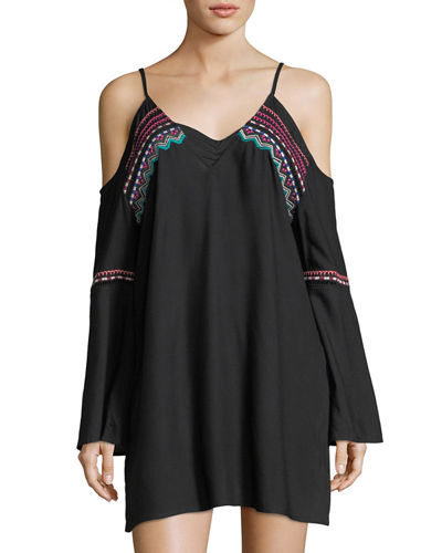 Spice Market Cold-Shoulder Tunic w/ Embroidery