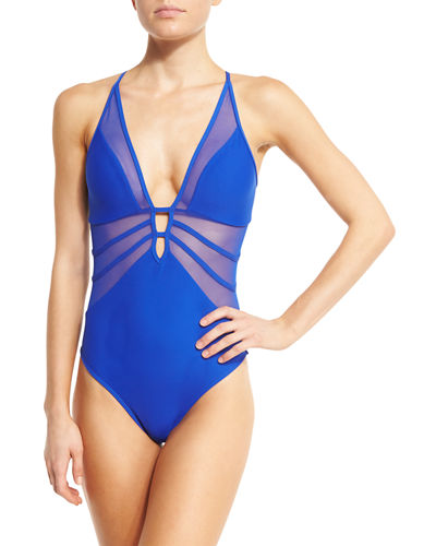 Aspire Mesh-Insert Plunging One-Piece Swimsuit