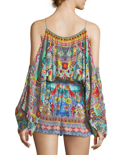 Cold-Shoulder Printed Silk Playsuit