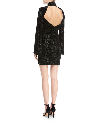 Winslow Turtleneck Bell-Sleeve Velvet Dress w/ Floral Metallic