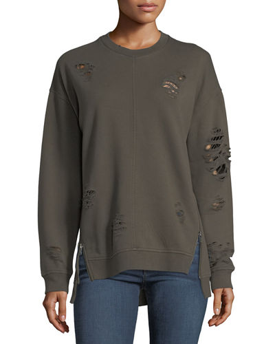 Lyndon Distressed Crewneck Pullover Sweatshirt w/ Zip Hem