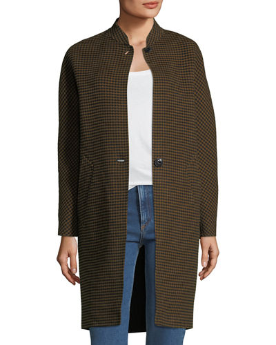 Darwen Button-Front Houndstooth Wool Coat